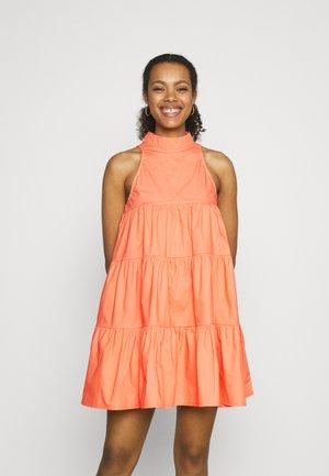 HIGH NECK TIERED SLEEVELESS - Day dress - orange