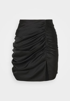 RUCHED DETAIL MINI SKIRT - Miniskjørt - black