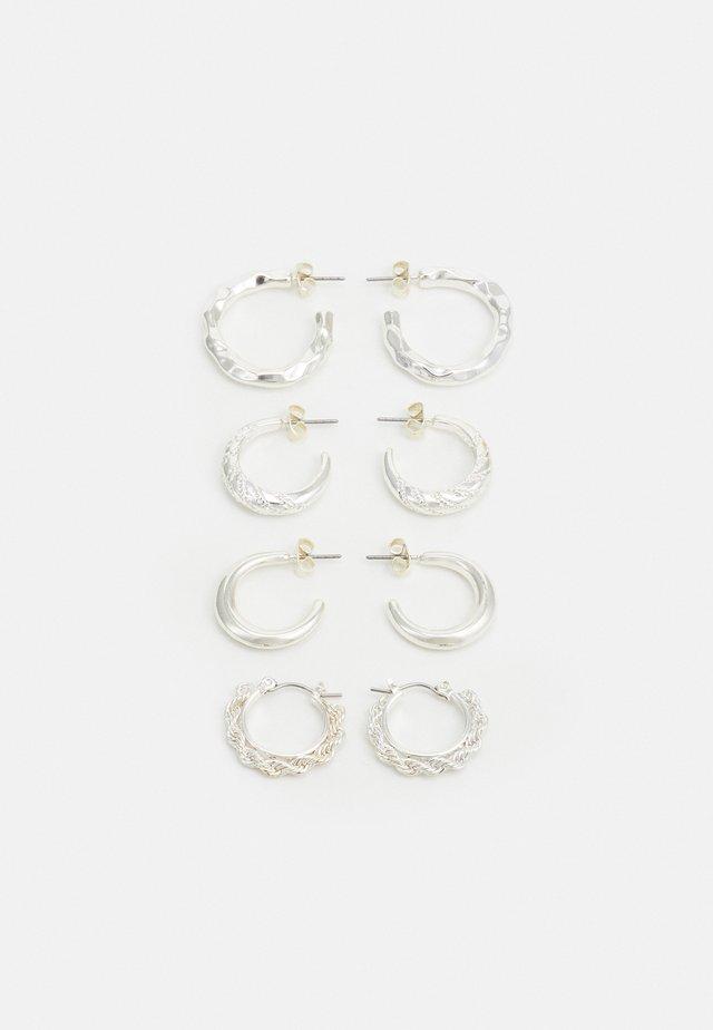 PCSOL HOOP EARRINGS 4 PACK  - Örhänge - silver-coloured