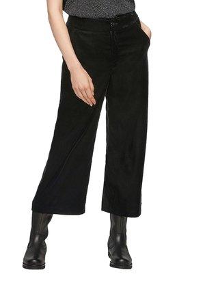 CULOTTE AUS SAMT - Trousers - black melange