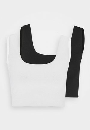 SQUARE NECK CROP 2 PACK - Top - black/white