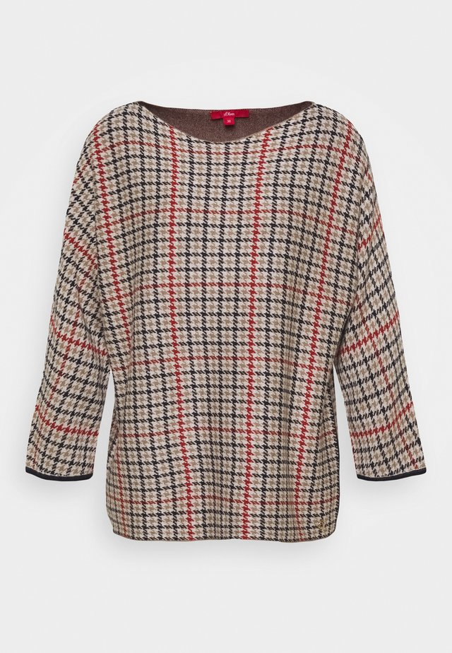 Pullover - dark red / check