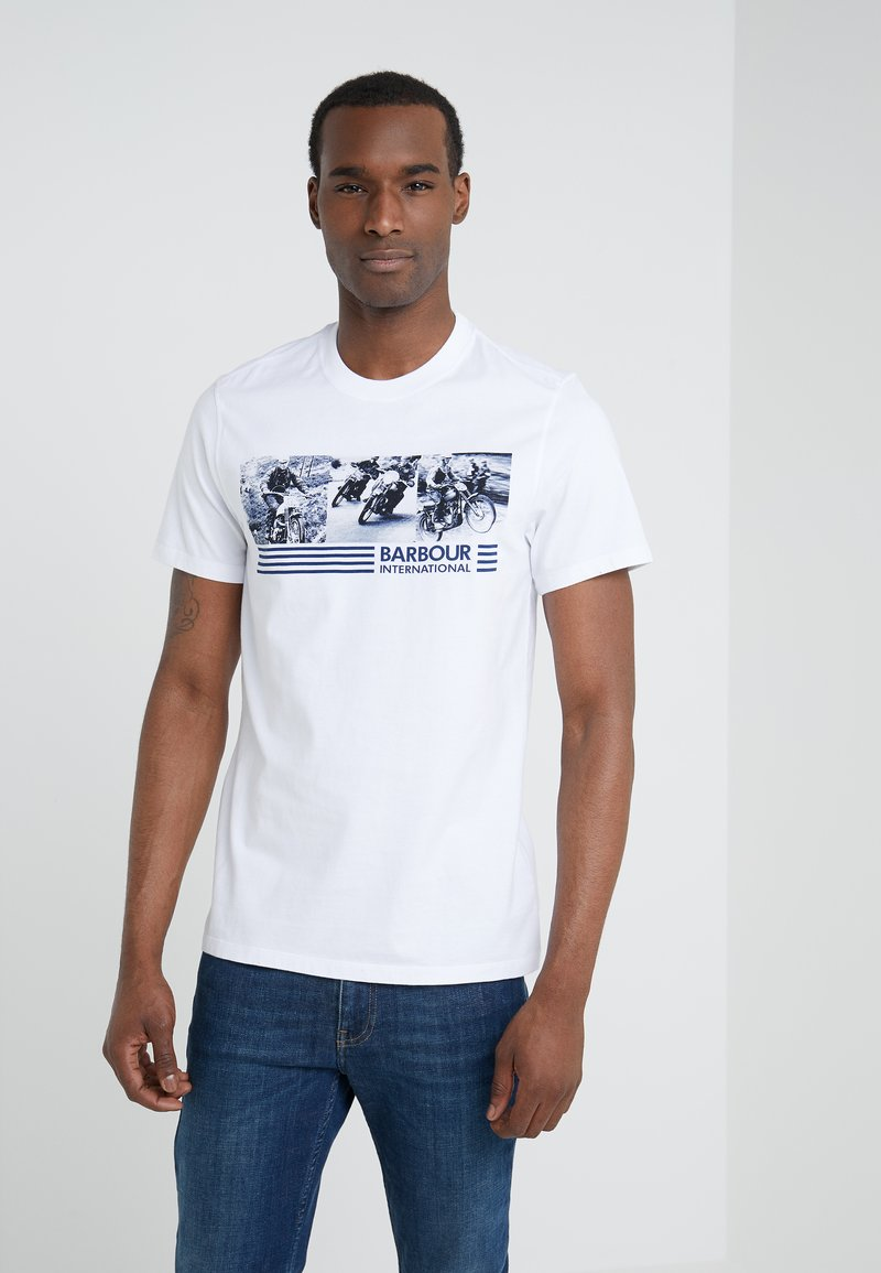 Barbour International - COMP TEE - Print T-shirt - white
