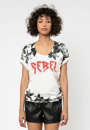 REBEL - T-shirt z nadrukiem - winter white