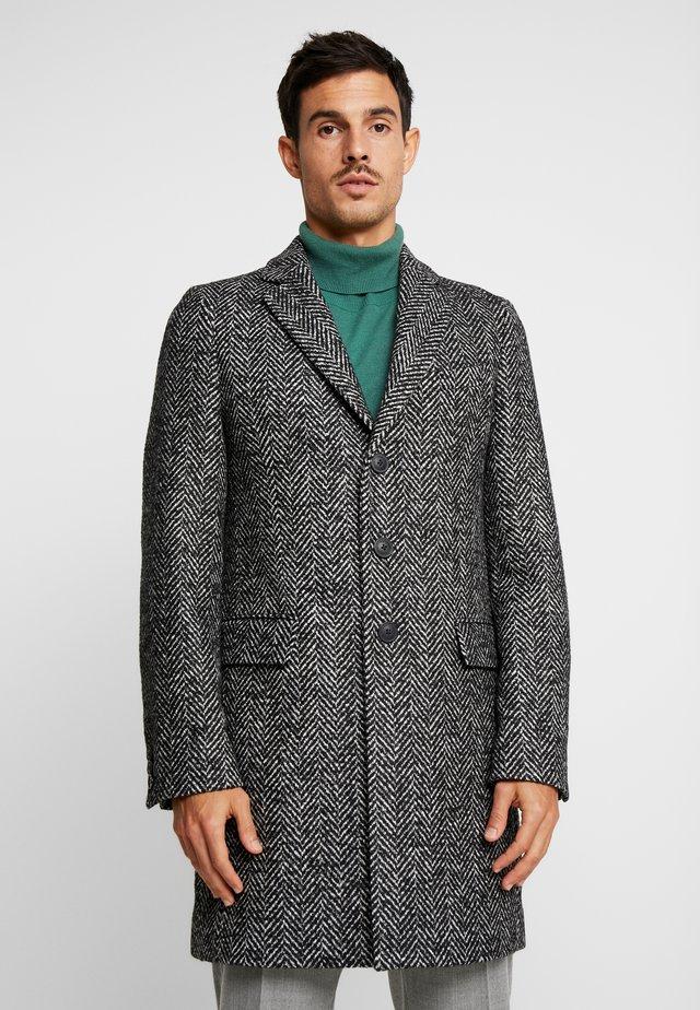 BRUSHED HERRINGBONE - Classic coat - black