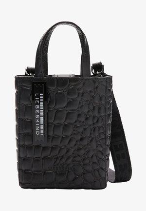 PAPER BAG KROKO TOTE XS TRAGETASCHE MIT KROKOPRÄGUNG - Tote bag - black