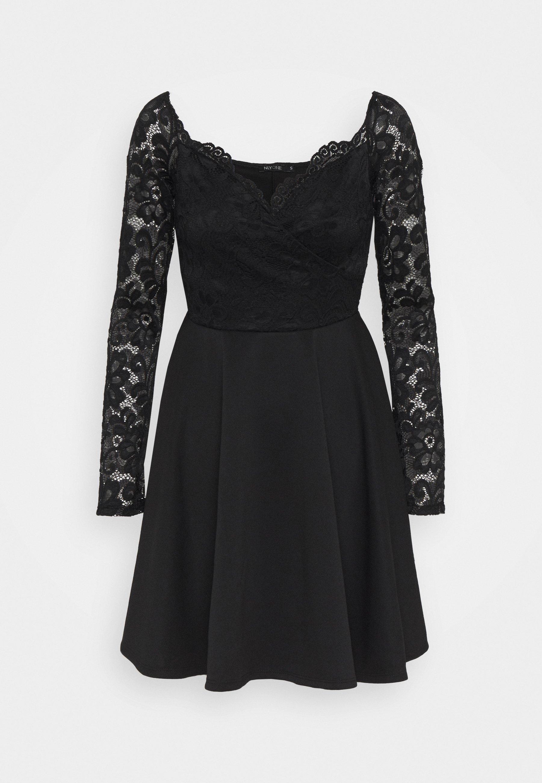 OFF SHOULDER SKATER - Cocktailkleid/festliches Kleid - black
