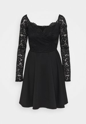 OFF SHOULDER SKATER - Vestido de cóctel - black