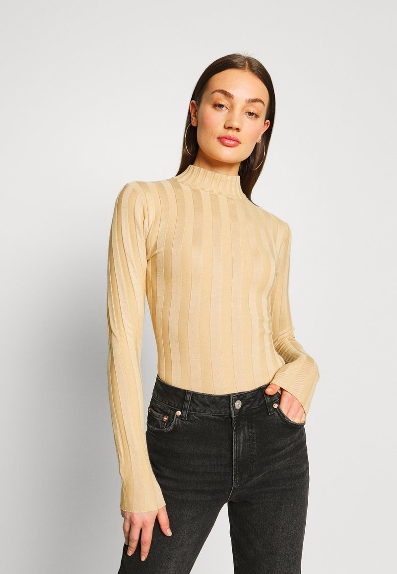 Missguided Tall - EXTREME HIGH NECK BODYSUIT - Sweter - toast