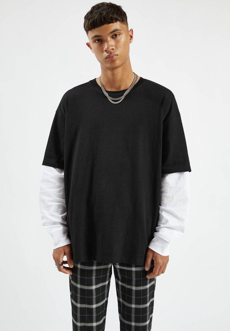 PULL&BEAR - Långärmad tröja - mottled black