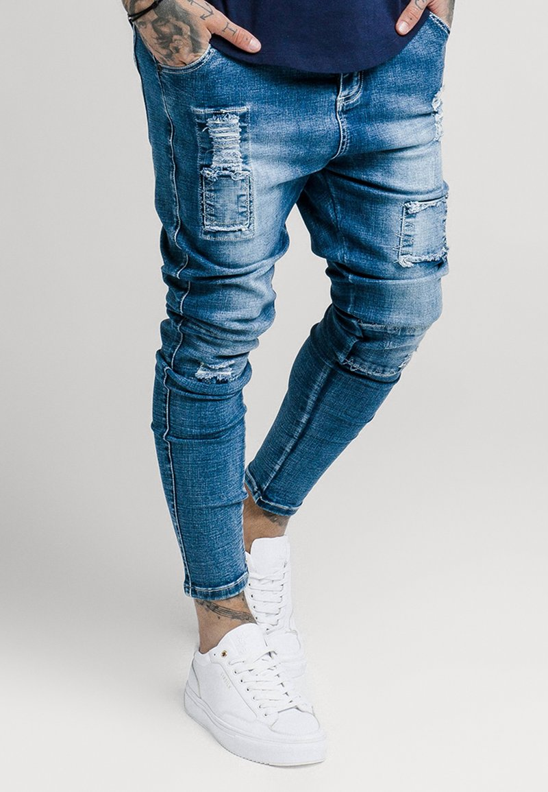SIKSILK - SKINNY FIT PATCH - Jeans Skinny - washed blue