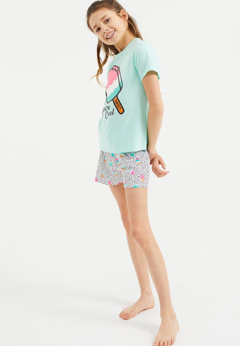 WE Fashion - MET IJSJESDESSIN - Pyjama set - turquoise, light pink