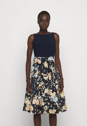 PRINTED FAILLE DRESS COMBO - Juhlamekko - lighh navy/yellow