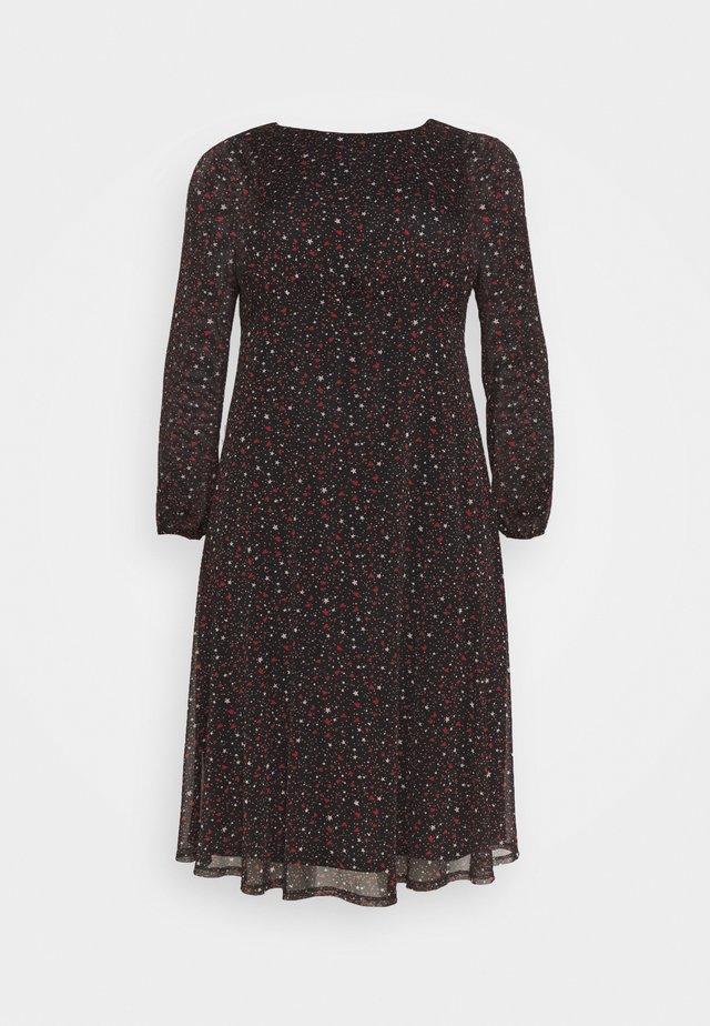PRINTED HANKY HEM DRESS - Freizeitkleid - black