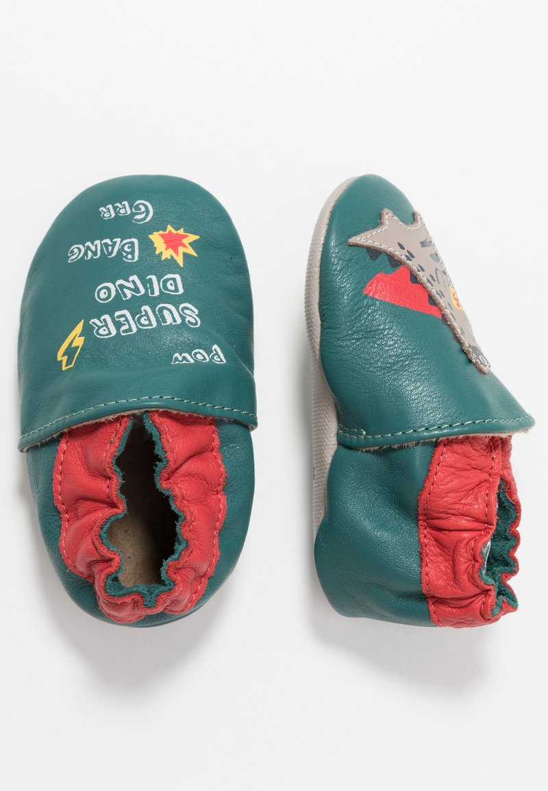 Robeez - SUPER DINO - First shoes - vert/fonce/rouge