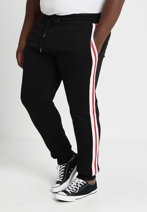 TERRY 3 TONE SIDE STRIP PANTS - Trainingsbroek - black/white/firered