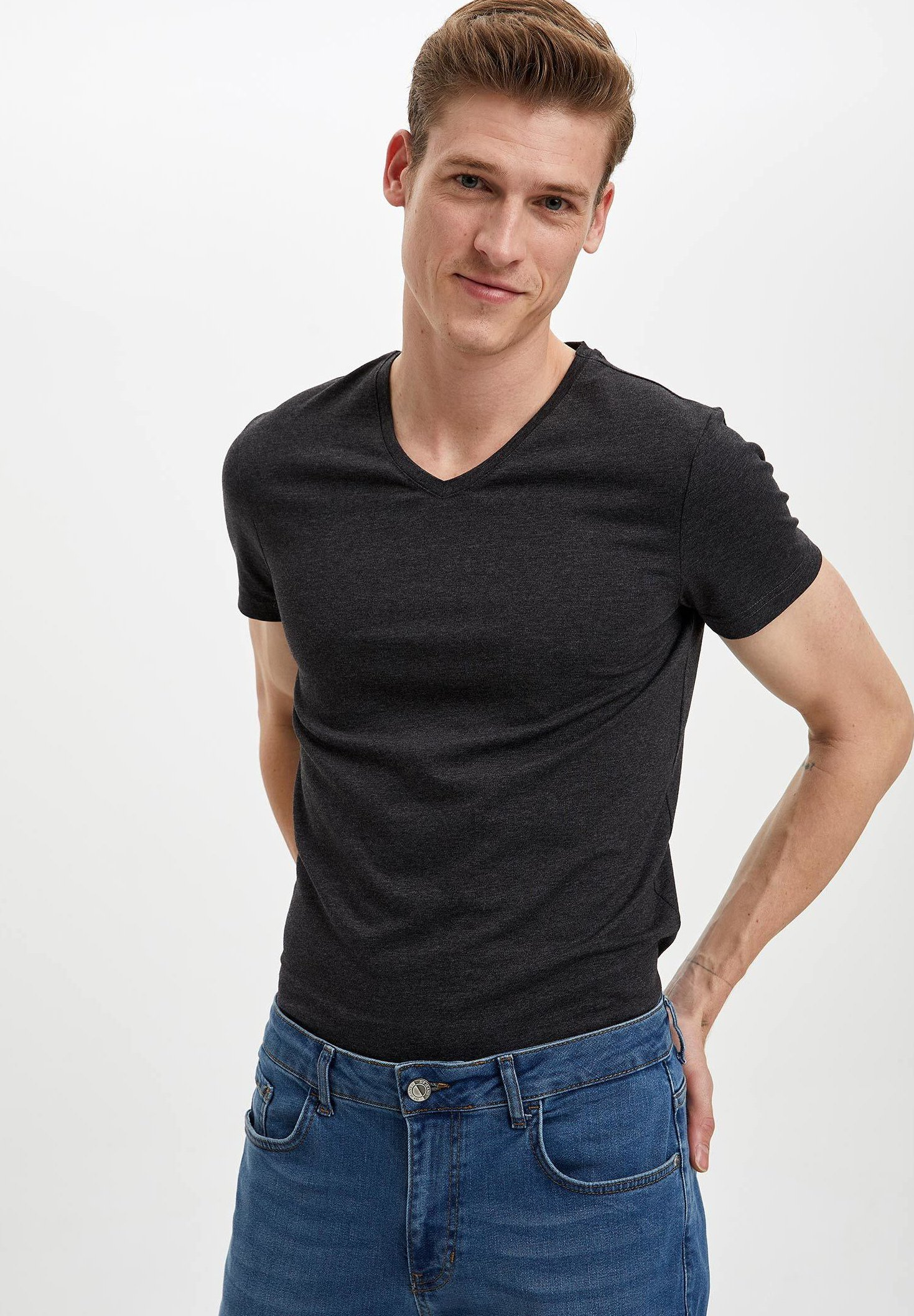 DeFacto Basic T-shirt - anthracite zzpFM