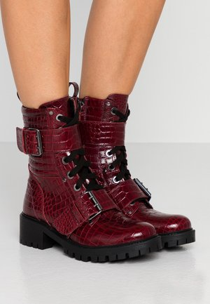 Cowboy/biker ankle boot - dark red