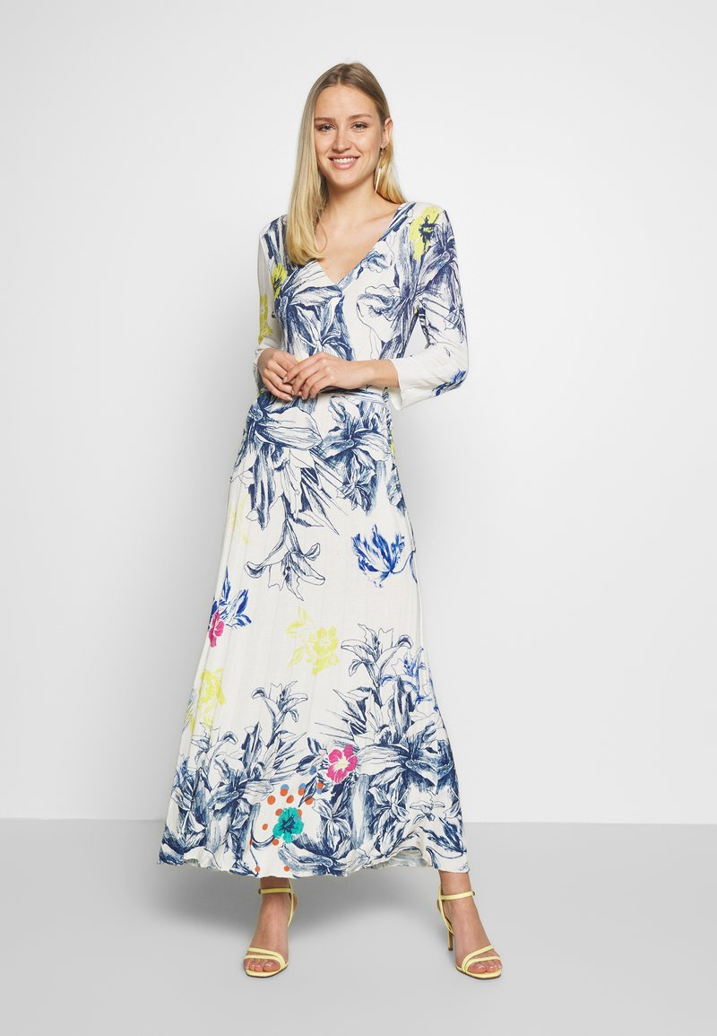 Ivko - VNECK DRESS FLORAL PRINT - Maxi šaty - white