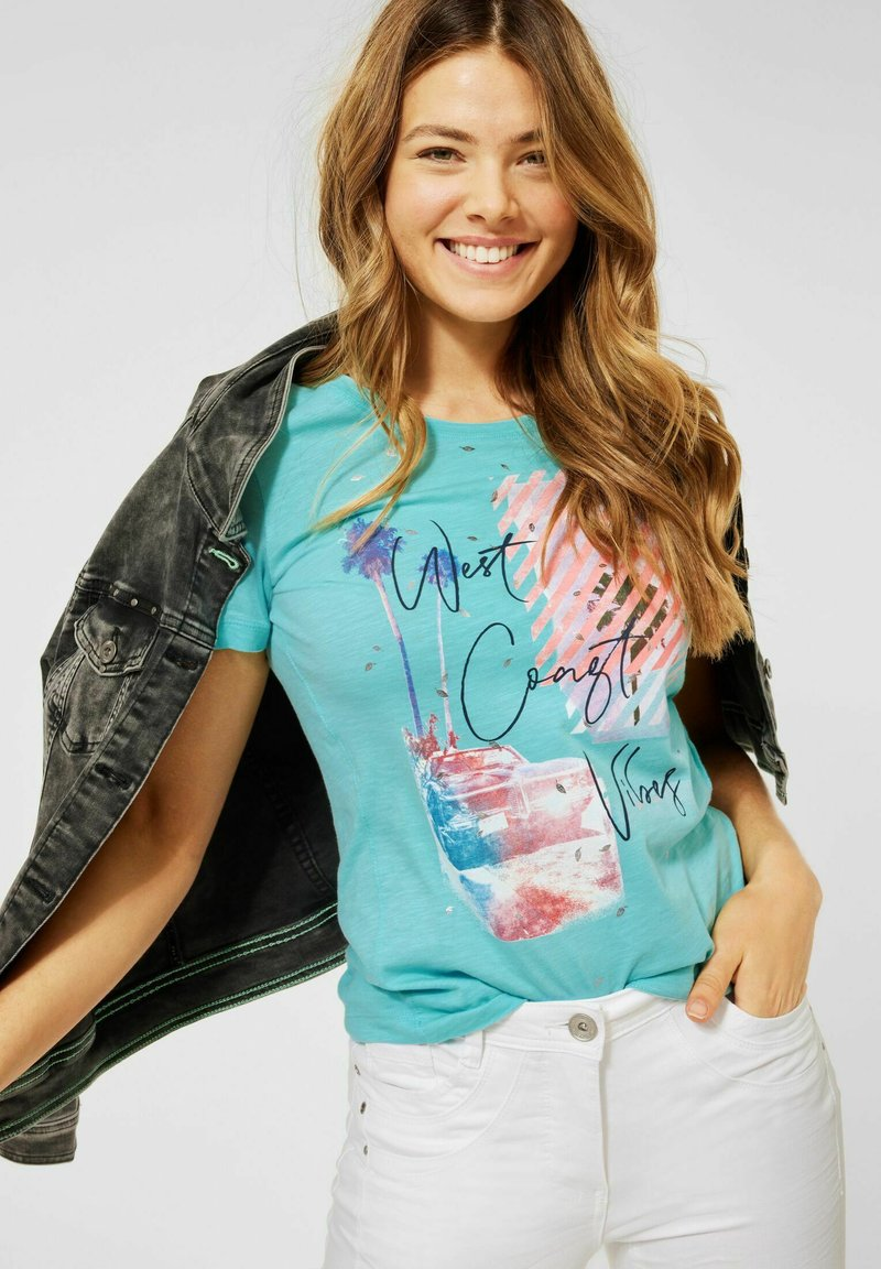 Cecil - Print T-shirt - türkis