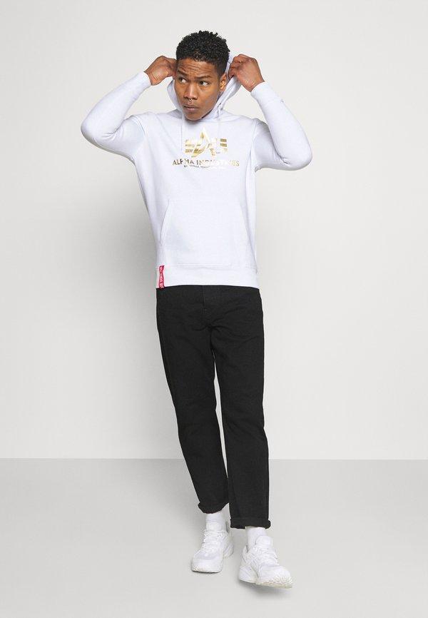 Alpha Industries HOODY FOIL PRINT - Bluza z kapturem - white/yellow gold/biały Odzież Męska WUFI