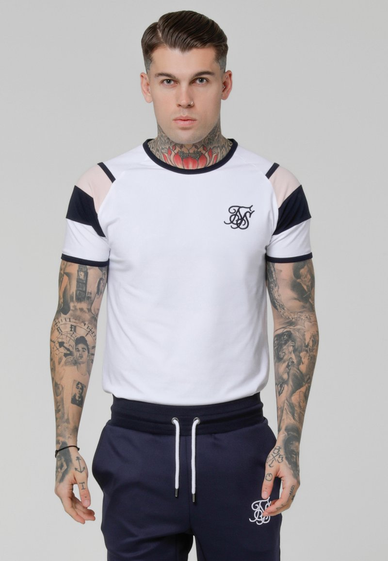 SIKSILK - SPRINT GYM TEE - T-shirts med print - white/pink/navy