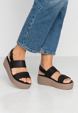 BROOKLYN LOW WEDGE - Platform sandals - black/mushroom