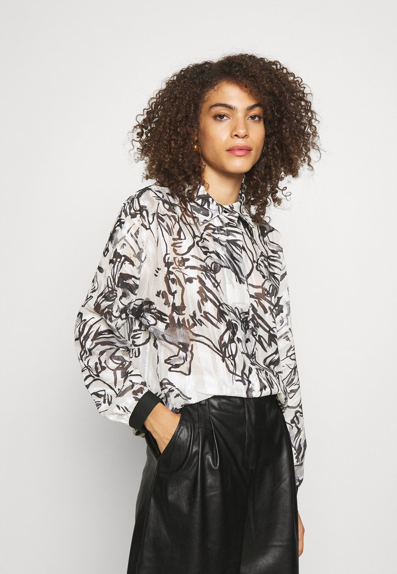 Marc Cain - Button-down blouse - white/black