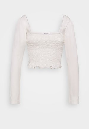 LONG SLEEVE LETTUCE CROP - Long sleeved top - cream