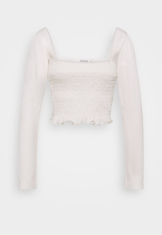 LONG SLEEVE LETTUCE CROP - T-shirt à manches longues - cream
