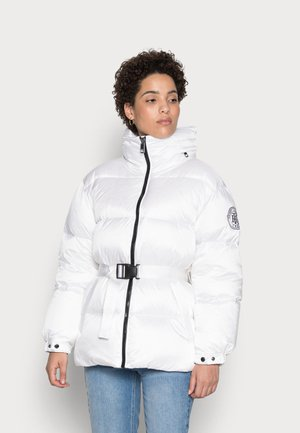 POLY LOGO BELTED - Down jacket -  optic white