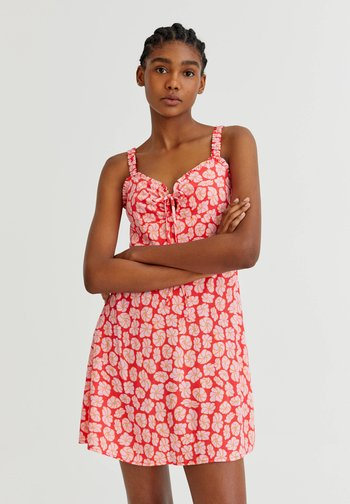 WITH TIE DETAIL - Day dress - pink