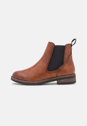 Ankle boots - cognac/navy