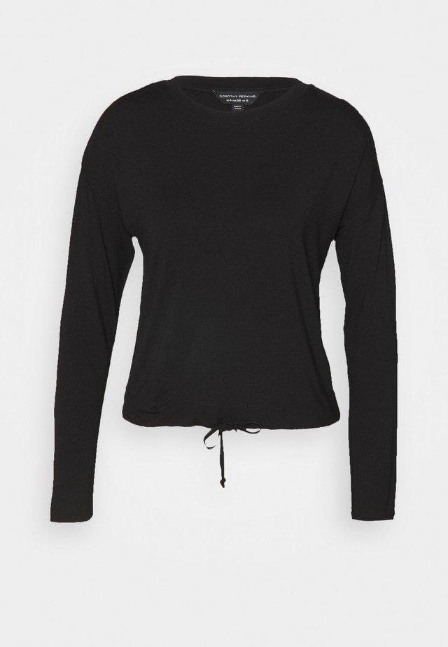 TIE WAIST - Bluzka z długim rękawem - black