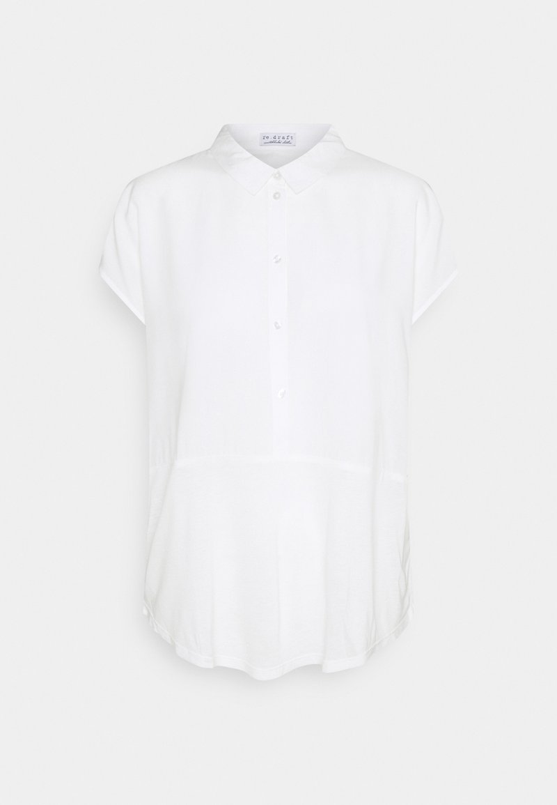 Re.draft - BLOUSE SHORTSLEEVE WITH MIX - Blouse - wool white