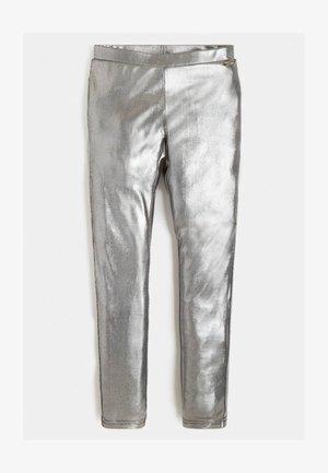 KUNSTLEDER - Trousers - silber