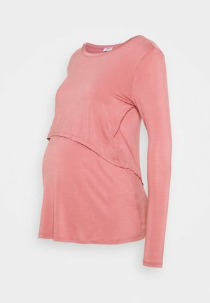 MATERNITY 2 IN 1 TOP - Long sleeved top - dark mauve