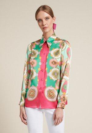 Button-down blouse - var corallo/verde/fucsia
