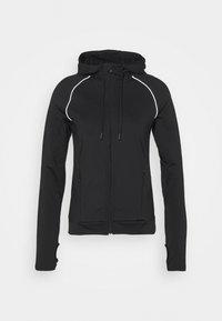 Even&Odd active - ZIP THROUGH HOODIE WITH REFLECTIVE DETAILS - Fleece jacket - black - 0