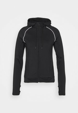 ZIP THROUGH HOODIE WITH REFLECTIVE DETAILS - Collegetakki - black