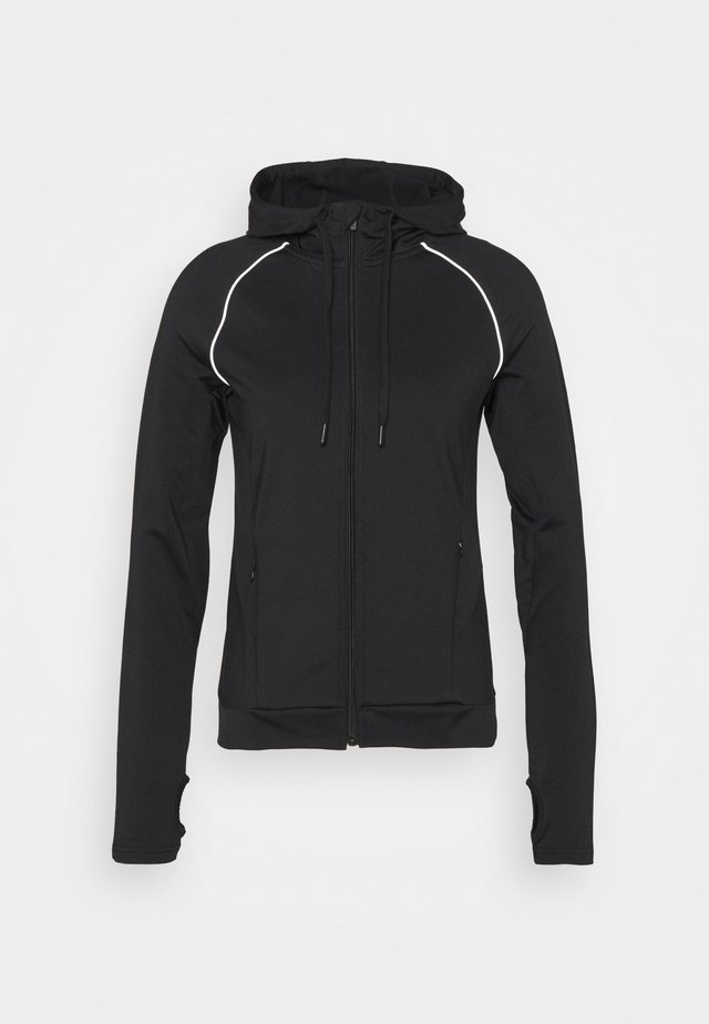 ZIP THROUGH HOODIE WITH REFLECTIVE DETAILS - Fleecejas - black