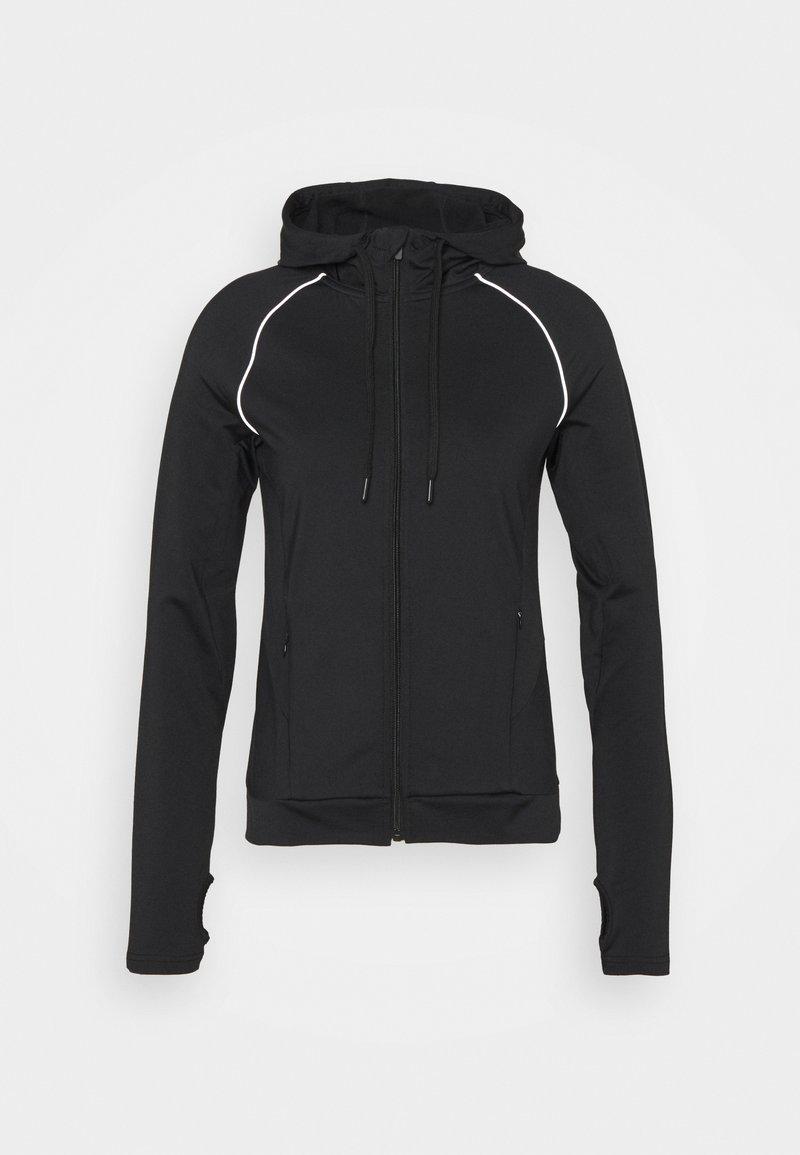 Even&Odd active - ZIP THROUGH HOODIE WITH REFLECTIVE DETAILS - Fleece jacket - black