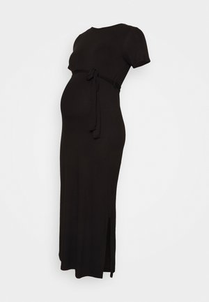 BELTED SIDE SPLIT MIDI - Sukienka z dżerseju - black