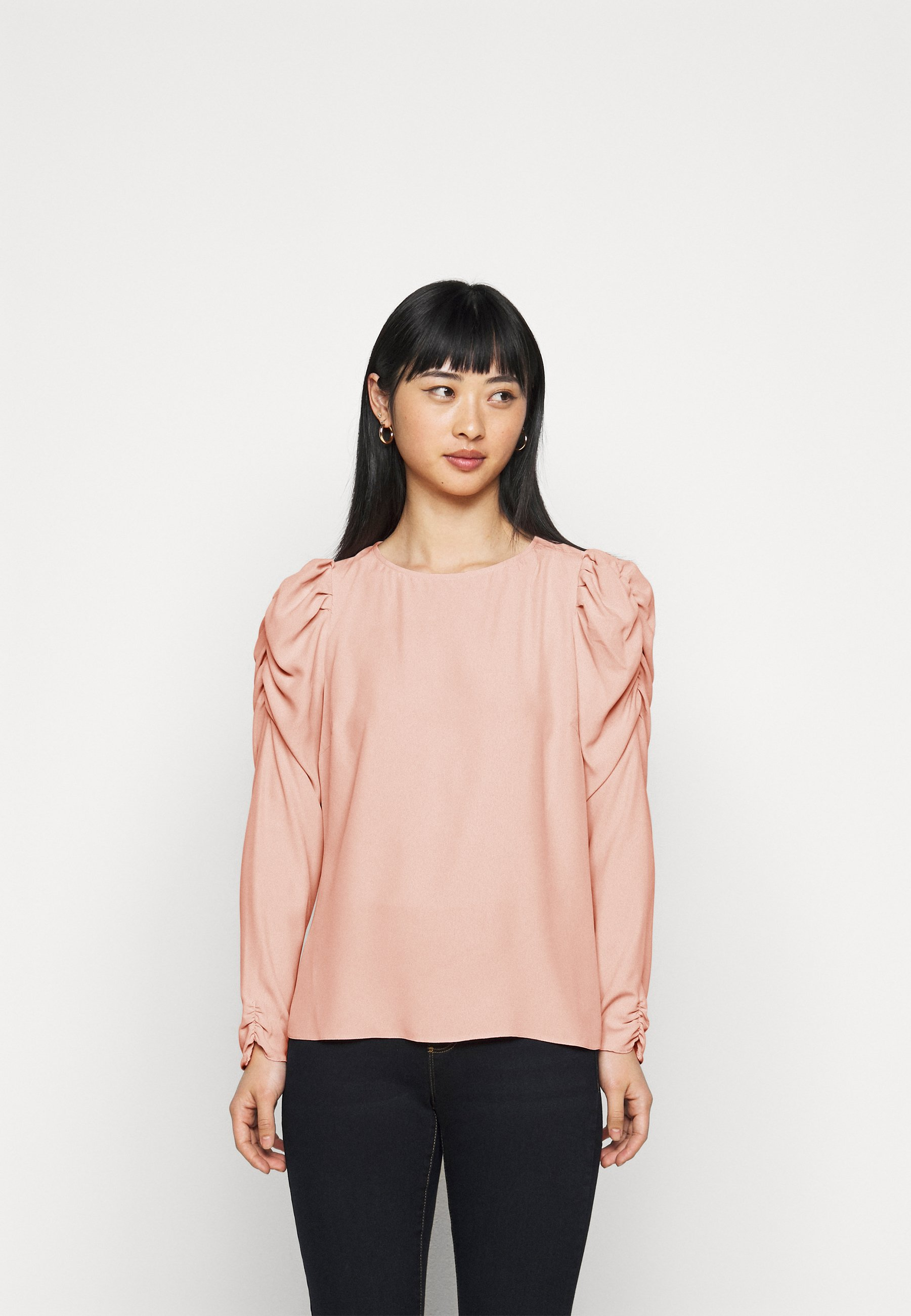 Women PETITES SUSTAINABLE LONG SLEEVE PUFF SHOULDER TOP - Blouse