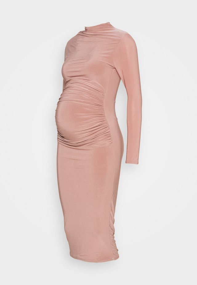 HIGH NECK LONG SLEEVE SLINKY MIDI - Jerseyjurk - blush