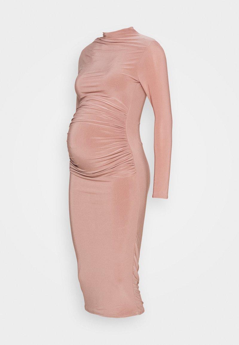 Missguided Maternity - HIGH NECK LONG SLEEVE SLINKY MIDI - Jersey dress - blush