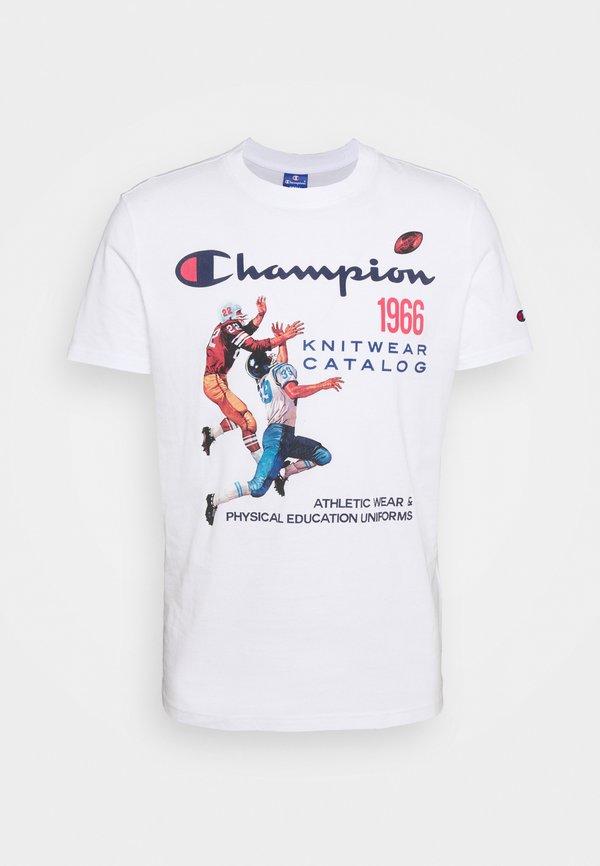 Champion Rochester CREWNECK - T-shirt z nadrukiem - white/mleczny Odzież Męska OVMM