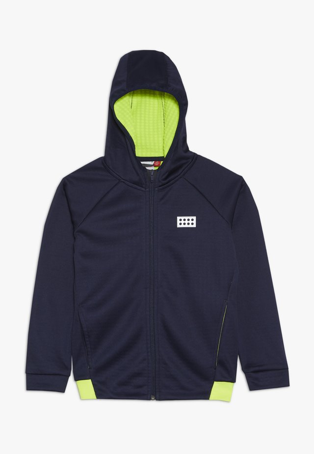 veste en sweat zippée - dark navy/ yellow
