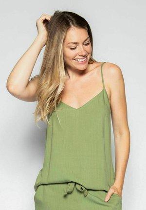 Pyjamasöverdel - green herringbone
