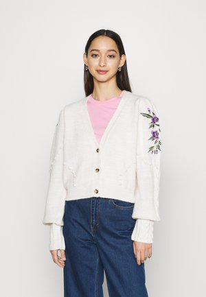 EMBROIDERY CARDIGAN - Cardigan - white